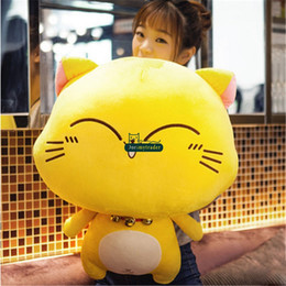 Fat Cat Doll Canada - Dorimytrader Pop Lovely Cartoon Big Fat Face Cat Plush Doll Animals Toys Soft Stuffed Anime Cats with Bells Toy Gift for Kids DY61685