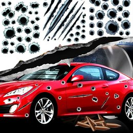 $enCountryForm.capitalKeyWord Australia - Hot Car decals Fake Bullet Holes Funny Car Helmet Stickers Decals Car Styling 3D Bullet Hole Simulation Scratch Decal Waterproof Stickerbomb