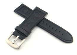 26mm watch buckle Australia - 26mm Black Leather Strap steel buckle Wristwatches Band Watchband Watch Strap 77mm 125mm Genuine Leather Watch Bands P150