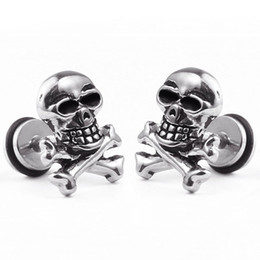 Wholesale 1 piece hot sale punk style mm stainless steel earring men s women s skull earring studs titanuim steel ear jewelry