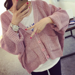 short sleeve knitted batwing cardigan Canada - Wholesale-2015 Campus wind Student's spring autumn solid wild knitted sweaters women batwing sleeve cardigans girl short style waistcoat