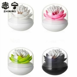 Plastic Toothpick Wholesale Canada - Wholesale- Plastic toothpick holders creative lotus flower design shape cotton swab holders with lid kitchen organizer free shipping Y-102