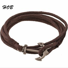 rope bracelets anchor clasp NZ - Wholesale- Black Brown Antique Silver Plated Anchor Rope Bracelet For Men Women Friendship Charm Bracelets Wristband Charm For Male MJB038