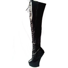 over knee sex boots UK - 20cm High Height Sex boots PU Platform Hoof Heels Over-the-Knee Boots US size 6-14 No.13667