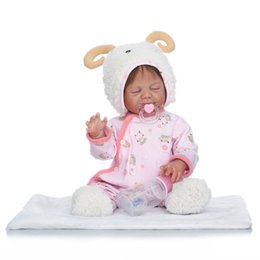 Barato Boneca Real Corpo Inteiro-50cm Full Body Soft Silicone Reborn Sleeping Babies Doll Toys Como Real Newborn Princess Girl Baby Doll Lovely Birthday Gifts