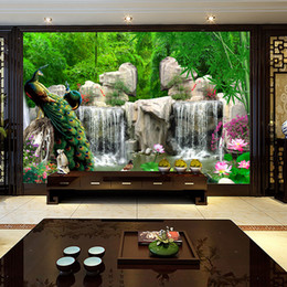 $enCountryForm.capitalKeyWord NZ - 3D Stereoscopic Photo Wallpaper Landscape Painting Retro Bamboo Forest Peacock Mural Living Room TV Backdrop Wall Home Decor