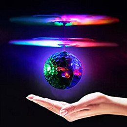 mini infrared helicopter Canada - New Brand Mini Flying RC Drone Helicopter Infrared Induction LED Remote Ball Mini Aircraft for Kids Teenagers Children ZJ0398