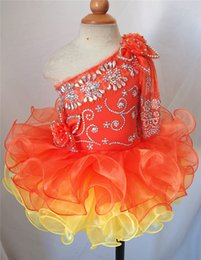 Beautiful Infants NZ - 2019 Orange One Sleeve Beautiful Design Flower Girl Dresses Girls Pageant Dresses Mini Short Cupcake Infant Toddler Dresses