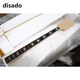 Wholesale disado frets paddle headstock maple electric bass guitar neck rosewood fingerboard inlay block glossy paint guitar parts