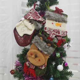 Christmas Tables Canada - Christmas socks tree decoration supplies 2018 Christmas decoration gift candy bags Christmas Santa Claus Snowman Elk bags outdoor bags