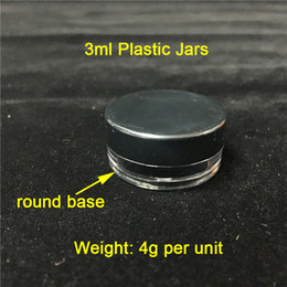 cheap wholesale containers UK - Cheap 3ML 3G Black Lids Plastic Containers Smoke Jars Wholesale Plastic Wax Containers On Sale Free Shipping To World Wide