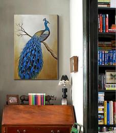 $enCountryForm.capitalKeyWord Canada - Unframed (50x75CM)100% Hand painted Oil Painting Canvas Blue and Green Peacock On Canvas Modern Living Room Wall Decor