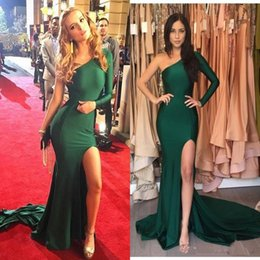 $enCountryForm.capitalKeyWord Canada - Cheap Emerald Green Sexy Split Evening Dresses 2017 Mermaid Satin One Shoulder Prom Dresses Long Party Celebrity Gowns