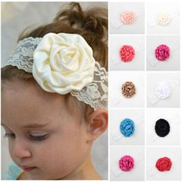 Large Laçage Élastique En Gros Pas Cher-Vente en gros - 1 Pcs Kids Baby Girl Toddler Lace Rose Flower Headband Wide Band Hairband Soft Elastic Hair Band Headwear Accessoires