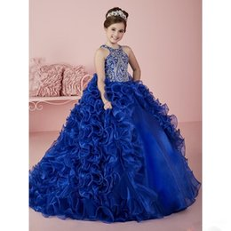 Toddler Flower Girl Dresses Train Pas Cher-2017 Royal Blue Halter Beaded Kids Ball Gowns Girl's Pageant Robes Backless Princess Corset Back Sweep Train Toddler Flower Girl Robes