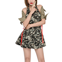 Barato Uniformes Para Casas Noturnas-Nightclubs especiais Halloween Camouflage Cosplay Costumes Stage Dresses Uniformes Novelty for Women