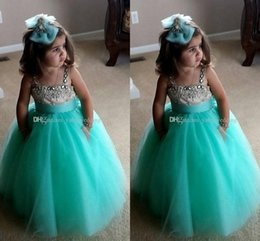 Turquoise flower girl dress online shopping - 2018 Cute Ball Gown Flower Girls Dresses For Weddings Beaded Neckline Spaghetti Satin Tulle Turquoise Green Pageant Dresses For Girls