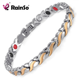 Magnetic Bangles Black Canada - Rainso Health Magnetic Bracelet For Women Stainless Steel Bracelets & Bangles with Health Germanium Link Chain Bracelets OSB-1551SRG