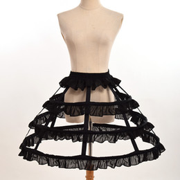 China White Black Fishbone Petticoat Women Cosplay Accessory 2 Types Gothic Victorian Lolita Chiffon Falbala Underskirt Fast Shipment cheap scary women costume suppliers