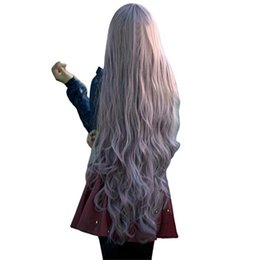 Womens Wigs Canada - Malidaike Anime Fashion Womens Lady Long Curly Wavy Hair Full Wigs Cosplay Party Anime Lolita Wig