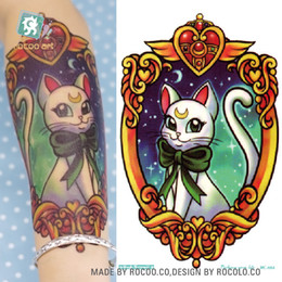 Chinese  Wholesale- MC684 19X12cm Sailor moon HD Large Tattoo Sticker Body Art Smile Cat Kitty Temporary Tattoo Terrorist Stickers Flash Taty Tatoo manufacturers