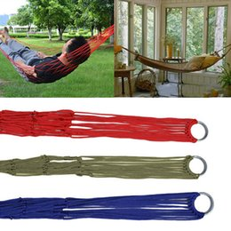 camp bedding UK - Wholesale- Outdoor Travel Portable Nylon Mesh Hammock Camping Garden Hanging Sleeping Bed Rope
