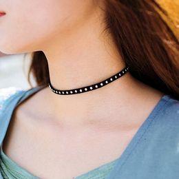 $enCountryForm.capitalKeyWord Canada - Chic Black Chocker For Girls Metal Rivet Suede Chockers Women Punk Necklaces Girls Short Necklace 10PCS Free Shipping
