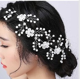 Casse-têtes Pas Cher-2017 New Shinny Bridal Wedding Headband Accessoires pour cheveux Bride Headwear Fashion Lace Pearl Hairband 100% Handmade Bijoux cheveux féminins