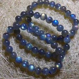 natural stones labradorite NZ - Moonlight Stone Natural Crystal Bracelet Natural Blue Light Labradorite Gemstone Bead Stretch Bracelet