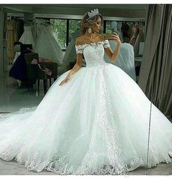Ball Gown Wedding Dresses Corset Back Canada - Elegant Off The Shoulder Ball Gown Wedding Dresses 2017 Lace Appliques Bridal Gowns Corset Back Vestido De Noiva From China