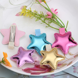 $enCountryForm.capitalKeyWord NZ - Wholesale- Children Accessories Sweet PU Heart Star  Crown Hair clip Baby Girls Hairpins Kids Barrette Lovely Shiny Leather Headwear