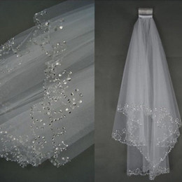 Wholesale Hot Sale Metres Two Layers Sequins Beaded Edge Cheap Bridal Veils With Comb White Ivory Soft Tulle Veil For Wedding Party
