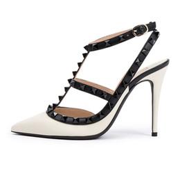 Discount bronze gold stilettos - Zandina Womens Handmade Fashion STUDS ANKLE STRAP 100MM Pointed Toe Buckle Pumps High Heels Court Shoes