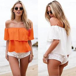$enCountryForm.capitalKeyWord Canada - Stylish Women Sexy Off Shoulder Chiffon Short Sleeve Party Slim Shirt Top Blouse
