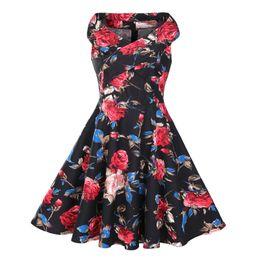 $enCountryForm.capitalKeyWord NZ - 2017 New Arrival European Style Hepburn 50s Slash Neck Criss-Cross Sleeveless Floral Printed Vintage Panelled Swing Plus Size Dress