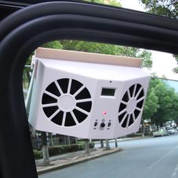 Ventilador de Refrigeração Do Interior Do Carro Movido A Energia Solar Ventilador de Ventilação Ventilador de Ar Dual Sistema de Ventilação w / LCD Termômetro Formaldeído Remover venda por atacado