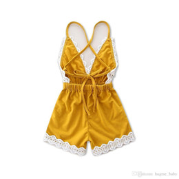 China HUG ME Wholesale baby clothes Girl's Floral Jumpsuit Suspender Trousers Pant 100% Cotton Flower Print Kids Summer Yellow romper Outfit suppliers