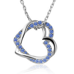 18k white gold chain styles UK - New Design Fashion Women's Summer Style 18K white gold plated austrian crystal full rhinestone double heart pendant necklace