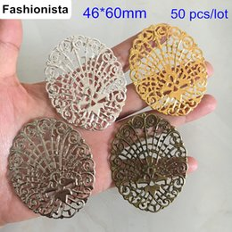 $enCountryForm.capitalKeyWord NZ - 50 pcs Large Oval Metal Filigree Flowers 46*60mm Metal Stamping Scroll Flower Connector,Gold-color,Silver-color,Steel,Bronze