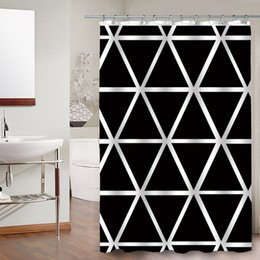 wholesale factory custom white and black print bathroom polyester fabric shower curtains