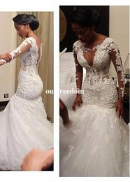 White Africa Laces Canada - Africa Style 2019 Lace Appliques Long Sleeve Wedding Dresses Back Cover Button Mermaid White Plus Size Bridal Gown Custom Made