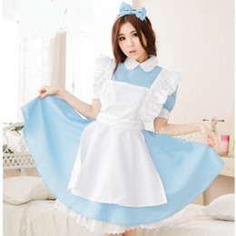Maillot Costume Pas Cher-Alice Au Pays Des Merveilles Parti Cosplay Costume Anime Sissy Maid Uniforme Doux Lolita Robe Adulte Halloween Costumes Pour Femmes