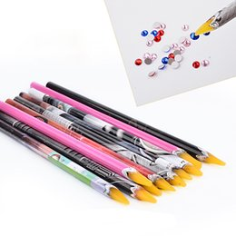 China 1pc Crayon Wax Dotting Pen Pencil Adhesive Rhinestones Gems Drilling Picking Picker Tips Tools DIY Salon Nail Art Manicure New supplier pencil arts suppliers