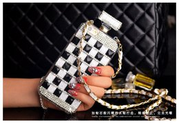 Chains For Mirrors Canada - For Samsung galaxy note 4 5 8 Luxury Diamond Rhinestones Perfume Bottle Mirror chain case cover