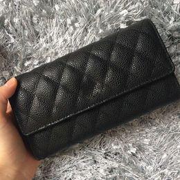 $enCountryForm.capitalKeyWord Canada - Hot sale Women's Fashion three fold long wallet Genuine Leather caviar Quilted Wallets Female Purses Card Holder wiht box