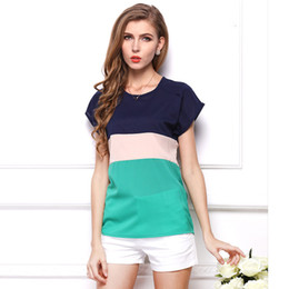 Discount plus size flare shorts - Wholesale- New Summer Fashion T-shirts Colorful Short Sleeve Women Tops Female Shirts Loose Stripe Chiffon Clothing Tops