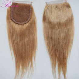 $enCountryForm.capitalKeyWord NZ - Color 27 Honey Blonde Brazilian Straight Remy Human Hair Lace Closure 4*4 bleached knots baby hair