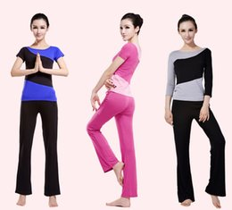 Costumes Courts Pour Dames Pas Cher-2015 Femmes Mesdames Yoga Pilates Gym Training Exercise Running Sports Short Ou Long Manches T Shirt Pantalons / Pantalon Suit Costume Livraison gratuite