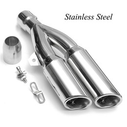 Discount motorcycle mufflers - 38-51mm Universal Exhaust Muffler Pipe Double Outlet Tail Pipe with 2 DB Killers For Motorcycle Street Bike Exhaust Syst