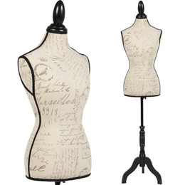 Female Mannequin Torso Dress Form Display W  Black Tripod Stand Designer Pattern on Sale